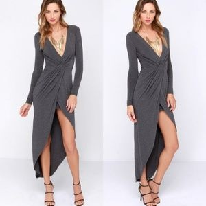 Lulus Ready or Knotty Gray Long Sleeve Dress Sz L